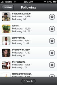 Twitter accounts with high follower ratios