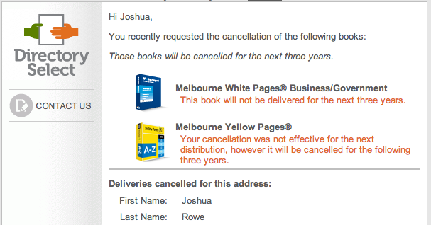Sensis Yellow Pages White Pages Cancellation